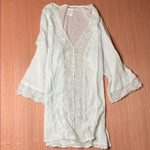 White crochet v-neck tunic swimsuit cover-up